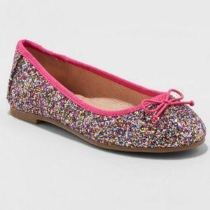 Cat & Jack Girls Lesley Glitter Ballet Flat Pink